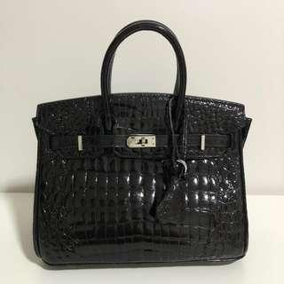 🚚 [SALE] genuine black crocodile skin handbag