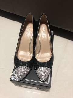 Pazzion crystal front black heels