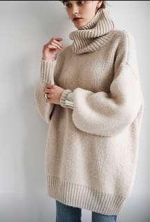 日本品牌 長版 杏色毛衣