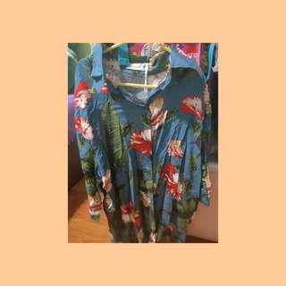 🚚 Blue Tropical Hawaiian Flowy Blouse Outer