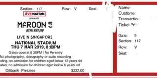 Maroon 5 Cat 3 and 4 tickets for sale