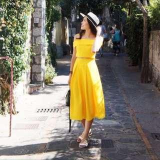 🚚 Yellow Sunshine Crop Top & Midi Skirt