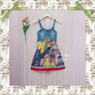 Mini dress denim kombi batik