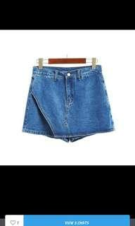 Dark blue denim high waist skorts(free normal mail)