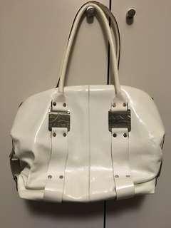 GENUINE White Leather Nannini Handbag