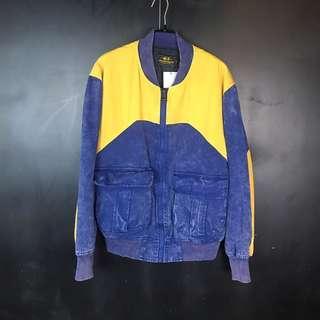 🚚 新品Mr.DT復古刷舊藍配黃口袋棒球外套