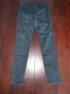 uniqlo藍綠格長褲