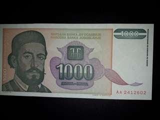 [Europe] Yugoslavia 1000 Dinars Old Paper Note (1994 Series)
