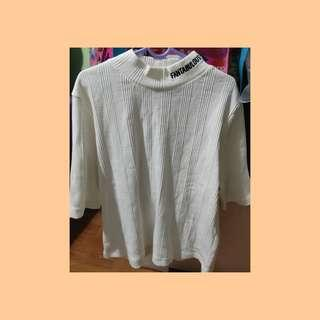 "🚚 GU ""Fantabulous"" Ribbed White Turtle High neck Shirt"