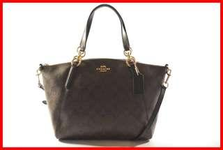 ORIGINAL Coach Brown/Black Signature Leather Small Kelsey Satchel Bag Brand New and Complete Inclusion Free Shipping and Express Shipping Nationwide