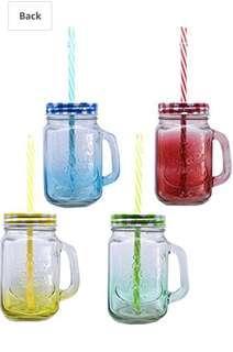 🚚 Mason Jar / Glass Jar with straw