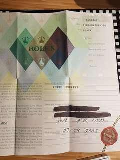 Rolex papers 16600 A series warranty