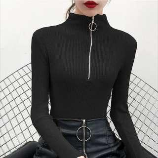 Dark Grey Ribbed Sweater Turtleneck Tracksuit with Full Length Zipper