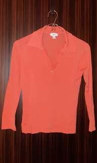 mango桃紅針織上衣
