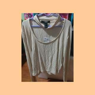 🚚 F21 Choker Long Sleeve Cream Top