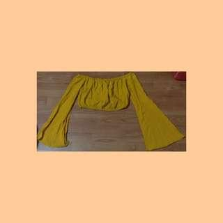 🚚 F21 Mustard Off Shoulder Offsie Top