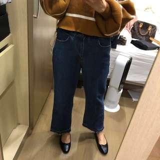 🚚 正韓 三釦顯瘦顯高 鬆緊牛仔寬褲 S號 novii lemon