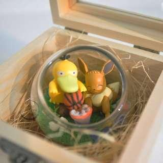 玻璃球禮物設計 寵物小精靈 Pokemon 精靈球 扭蛋 傻鴨 伊貝