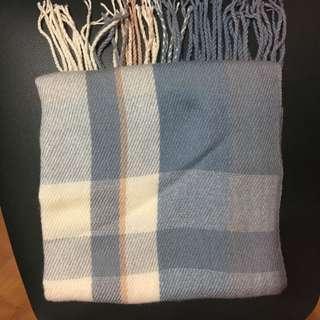 全新藍色格仔頸巾