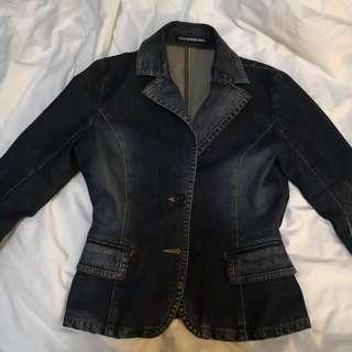Fitted Designer Denim Jacket by Vivienne Tam