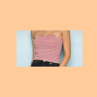 🚚 Brandy Melville Jenny Tube Top In Red and white stripes