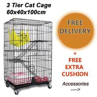 🚚 FREE DELIVERY Cat Cage 3 Tier / Black / White With Accessories