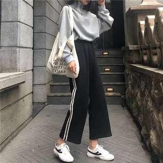 🚚 韓版學院風休閒高腰運動褲