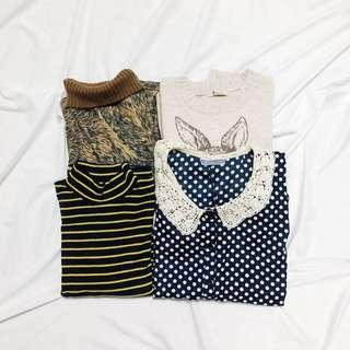 🚚 [ 四件合售 ]長袖上衣、針織、短袖雪紡