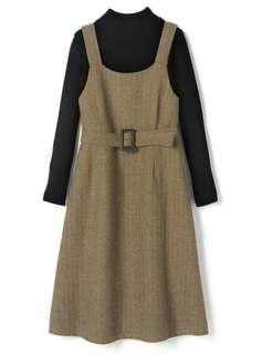 日牌 GRL 啡色直紋背帶連身裙 (全新)
