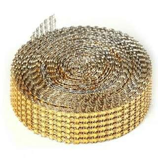 🚚 6排水晶鑽石緞帶(金色)