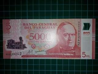 [America] Paraguay 5000 Guaranies Polymer Note (2011 Series)