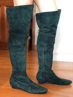 🚚 Green suede thigh high boots