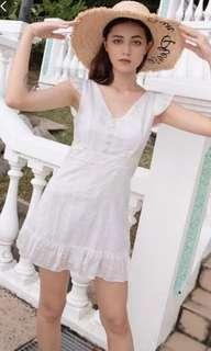 🚚 CLARINS RUFFLE EYELET DRESS (WHITE)