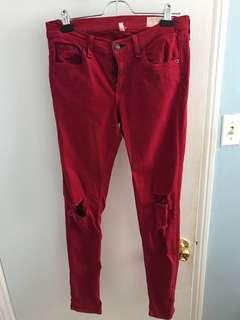 Aritzia Rag & Bone Red Torn Jeans Size 27