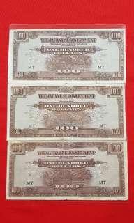 $100 Japanese Malaya 1942