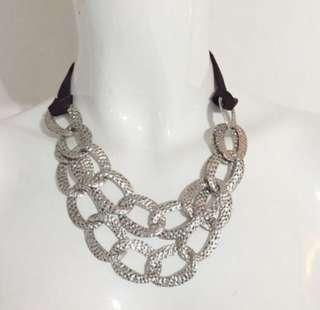 Interlock silver oval pendant nylon black ladies necklace