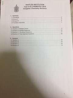 Raffles Institution Inorganic Chemistry Summary + Revision