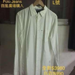 Polo Jeans美牌全新白襯衫 L
