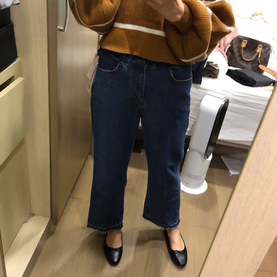 正韓 三釦顯瘦顯高 鬆緊牛仔寬褲 S號 novii lemon