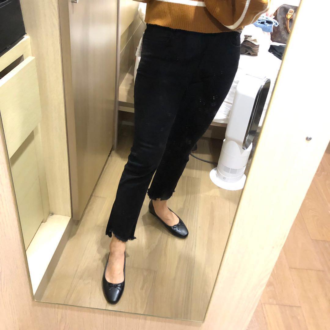 正韓 scooter 黑色牛仔棉靴型不修邊牛仔褲