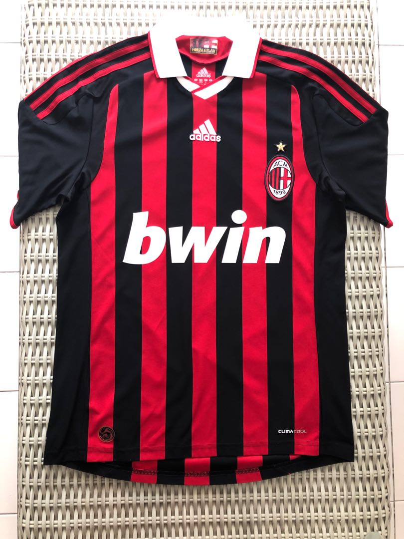 fa50fa97bfa Adidas💯% Authentic red black AC Milan home jersey for SGD 19 (size ...