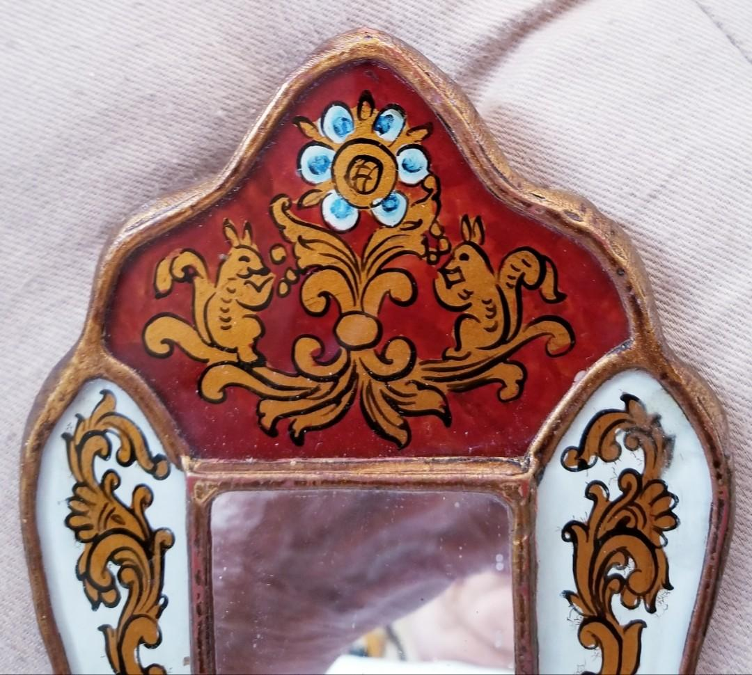 andmade Decorative Reversed Painted Glass Mirror-Antique