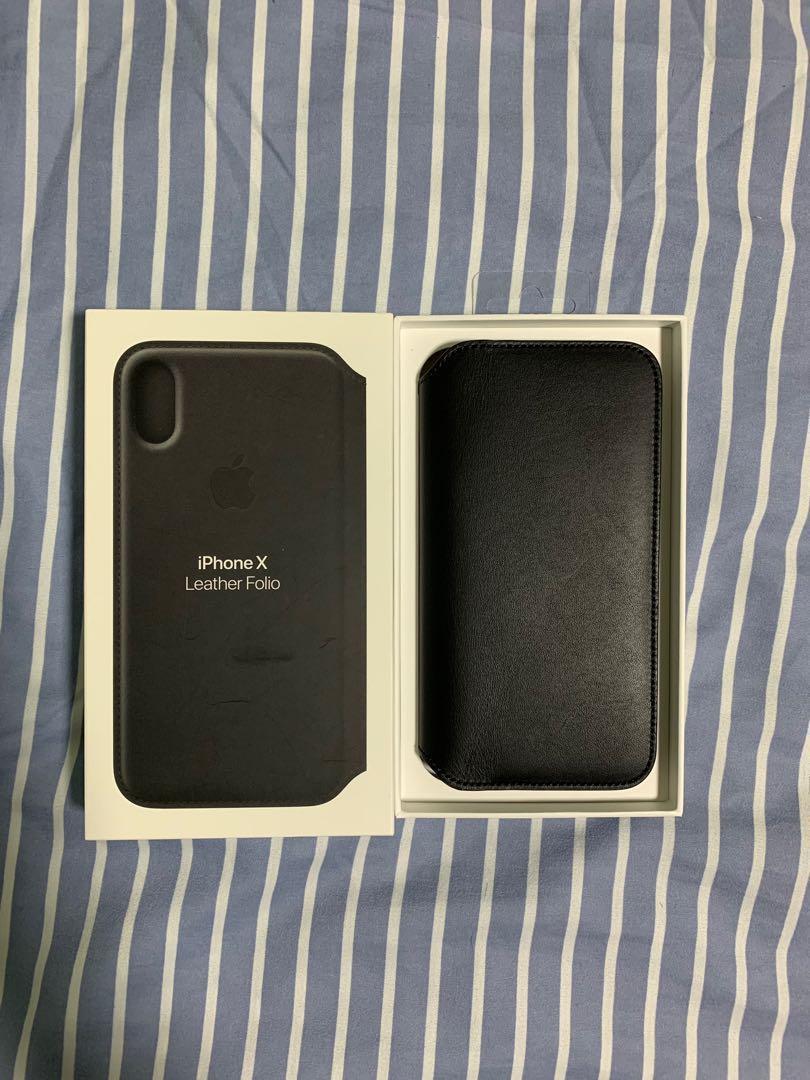 newest 953b3 aebd9 Apple iPhone X Leather Folio (Black)