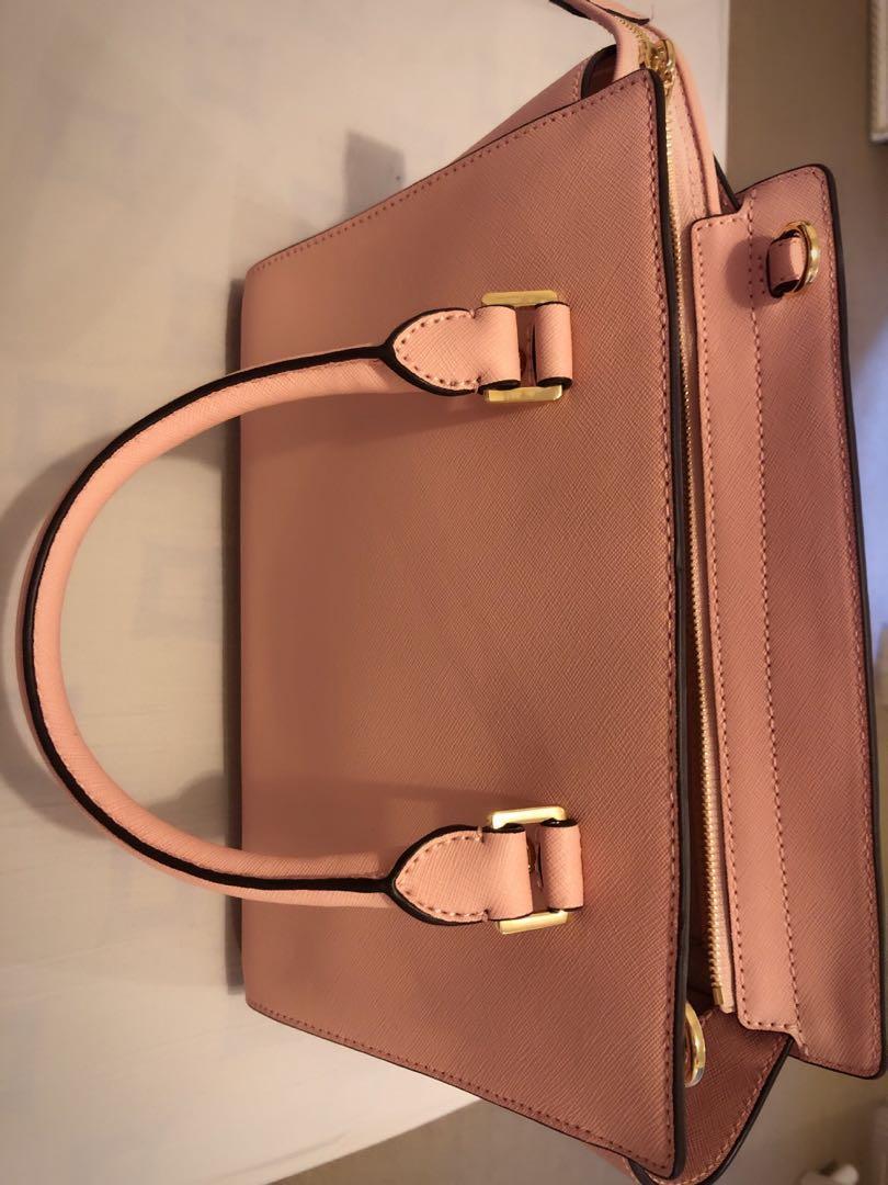 Authentic Michael Kors MK Selma Medium Pink Leather Handbag Satchel Tote Bag