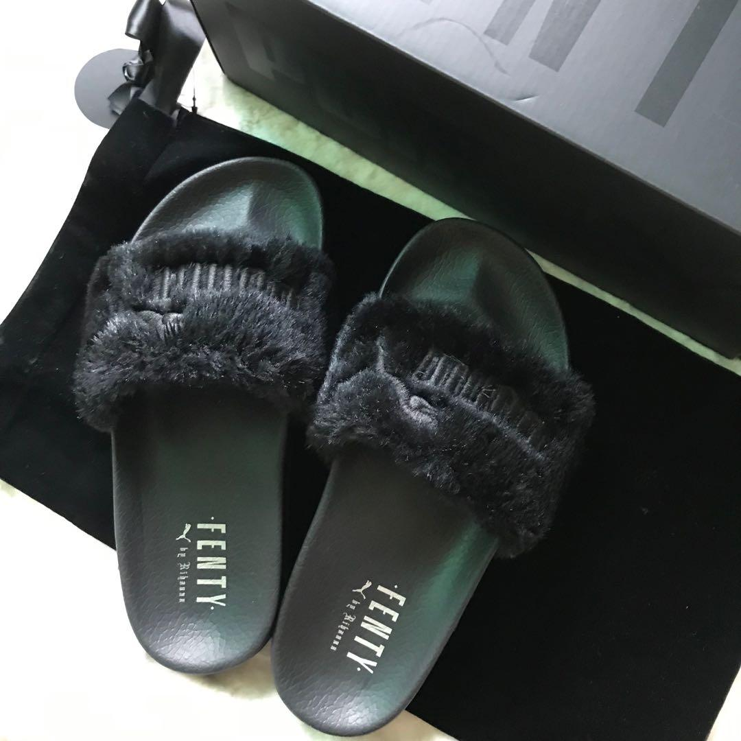 reputable site 98a35 b2937 Authentic Puma Fenty Black Puma Fur Slides on Carousell