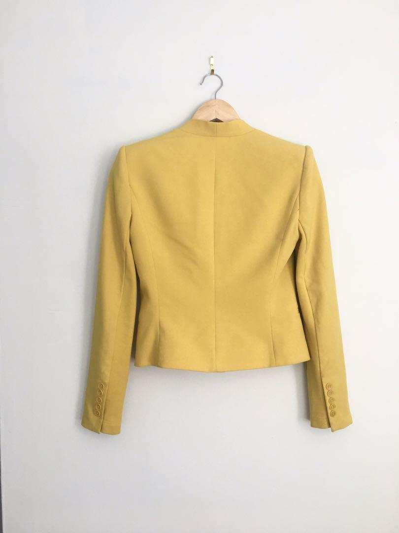 BCBG mustard yellow structured blazer xxs