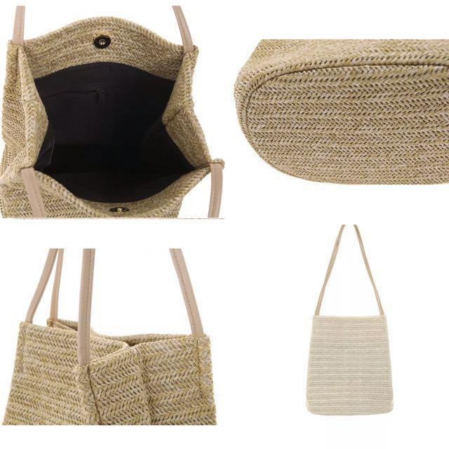 (Beige) Solid straw weave women handbag summer beach should tote 💼