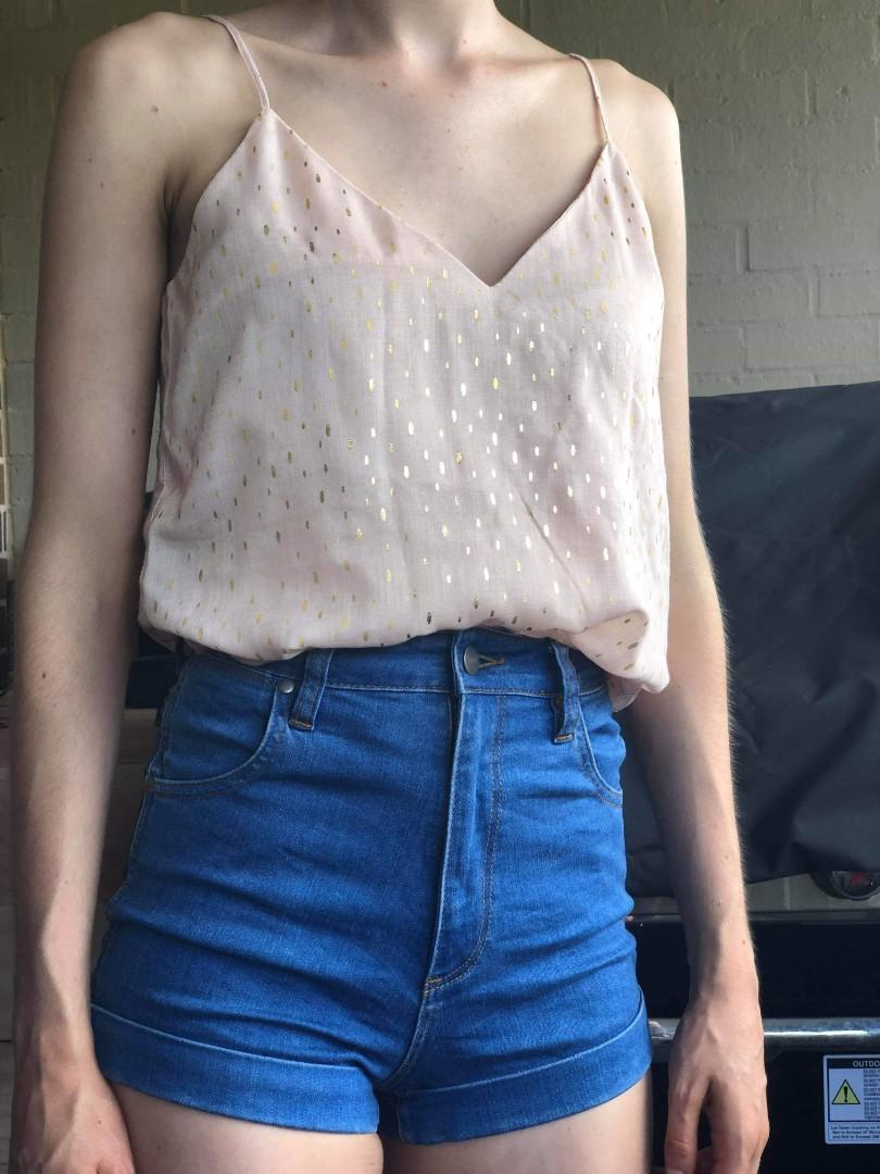 Blush pink with gold flecks Glassons camisole singlet