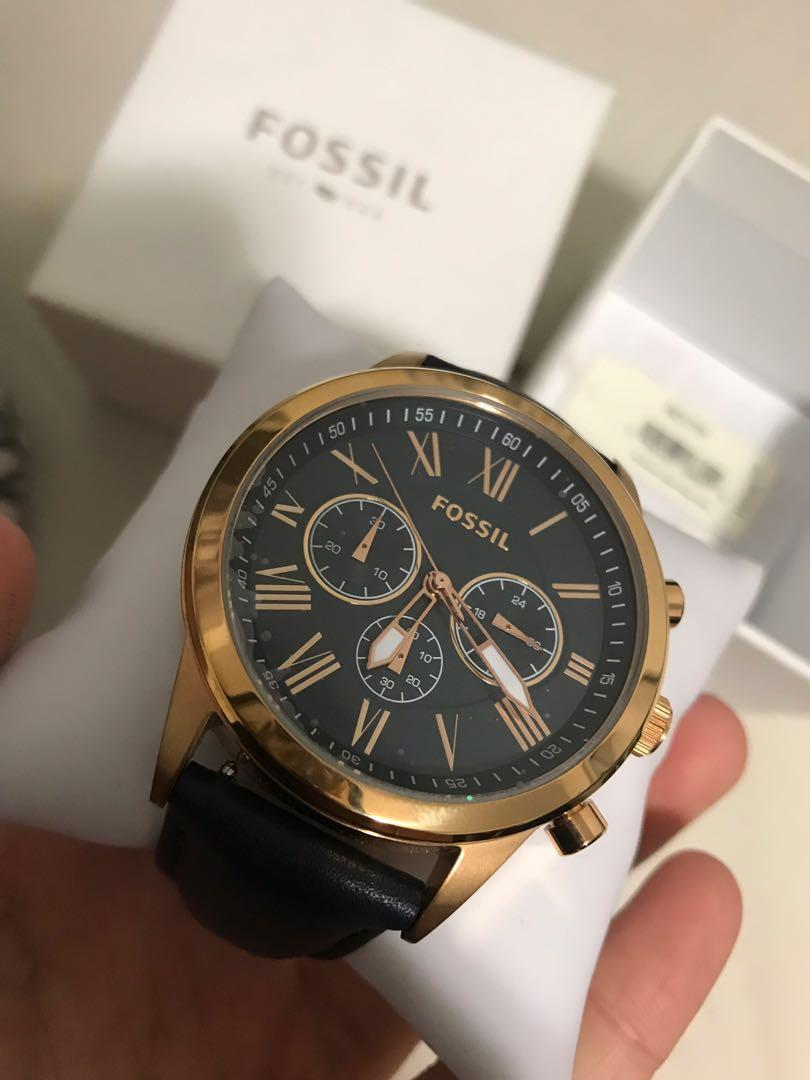 BRAND NEW Fossil Grant navy Rose gold Chronograph Watch