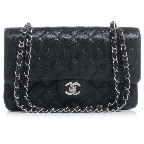 0bb4957d5ea3 Chanel Classic Double Flap Medium Silver hardware Caviar leather ...
